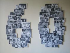Photo collage on cardboard numbers