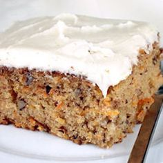 This is the best Carrot Cake recipe. My daughter has made it often, but I never had.  I made it and brought it to work today and everyone loved it!  Allrecipes.com