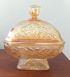 """*AMBER CARNIVAL GLASS ~ Candy Dish It has an acorn design and is just the thing for Autumn. It is in excellent condition with no chips or cracks. It measures 7"""" tall and 5 1/2"""" across, c.1970's."""