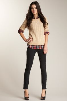 love the cable knit over plaid!