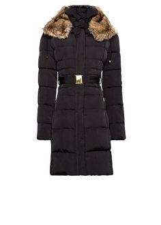 MANGO - Furry hood quilted coat