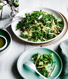 Winter salad of broccoli, apple, and kale with sesame dressing recipe :: Gourmet Traveller