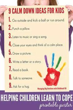 5 Steps to Managing Big Emotions: Printable | Childhood101