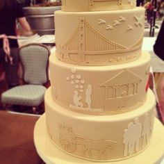 This wedding cake at the San Francisco Wedding Fair tells the love story of the couple. Wedding Fair, Plan My Wedding, Our Wedding, Dream Wedding, Wedding Stuff, Pretty Cakes, Beautiful Cakes, Amazing Cakes, Wedding Cake Designs
