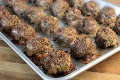 Italian meatballs. 3 lb beef, 1 1/2 lb sausage--opt?, oregano, 1 c. breadcrumbs, 1c. buttermilk, salt, pepper, 1c. parm chs, garlic, onion, parsley. Bake 350 30 min.