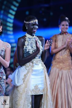 BEAUTIFUL Miss SouthSudan at the Miss World 2013. She was in the Top 10 for the Top Model contest. Beautiful ebony skin