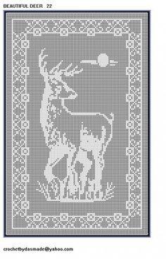 Item 22 Deer Filet Crochet Doily Afghan Pattern tablecloth tablemat