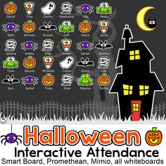 FREE - Have fun taking attendance with this Halloween theme interactive attendance sheet! Works on any Interactive Whiteboard and computer. Display on your Smart Board, Promethean, Mimio or on a computer workstation.