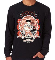 Velocitee Mens Long Sleeve T Shirt Sailor Tattoo Pin Up Rockabilly Jerry V98 #Velocitee