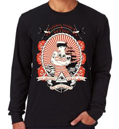 Velocitee Mens Long Sleeve T Shirt Sailor Tattoo Pin Up Rockabilly Jerry V98 #Velocitee