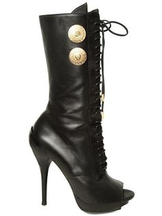 VERSACE nappa leather, lace-up, open-toe stiletto boots (€408)