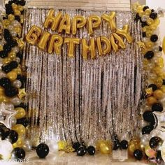 Gifts & Mugs  Happy Birthday Letter Foil Balloon Set of Gold + 2Pcs Silver Fringe Curtain (3 X 6 Feet) + Pack of 30 pcs Metallic Balloons (Black, Gold and Silver) Balloon  (Black, Silver, Gold, Pack of 45)0 Material: Non-Toxic Pack: Pack of 1 Product Length: 21 cm Product Breadth: 15 cm Product Height: 3 cm Country of Origin: India Sizes Available: Free Size   Catalog Rating: ★3.8 (425)  Catalog Name: Classic Soft Toys CatalogID_3321070 C127-SC1268 Code: 603-16617613-447