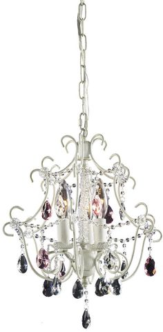 View the Elk Lighting 4041/3 Minique Three-Light Mini Candelabra Chandelier with Hot Pink and Clear Crystals in Antique White Finish at LightingDirect.com.