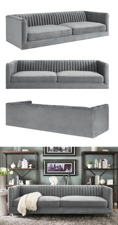 Treat yourself. Generously padded and upholstered with soft and sumptuous gray velvet fabric, this Lucille Sofa is hard to beat. Ultra-cozy and accented with stunning interior pleating and elegantly tu. Find the Lucille Sofa, as seen in the Sofas Colle Sofa Furniture, Luxury Furniture, Living Room Furniture, Furniture Design, Furniture Layout, White Furniture, Vintage Furniture, Living Room Sofa Design, Living Room Modern