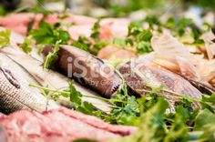 Fresh fish sold in venice market stall - Stock Image Royalty Free Stock Photo