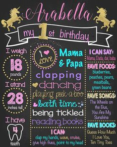 ◆DIGITAL FILE◆ ●UNICORN FIRST BIRTHDAY CHALKBOARD!● Is your baby girl turning one?! This chalkboard sign is PERFECT for her! Let this be the perfect addition to your party and/or photo shoot! ●How does this work? Simple! Purchase the item, let me know what you want on the board, I