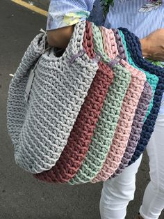 Anouk Seydou  Beautiful crochet bags #crochet #bag #tote #knitted #rope #yarn