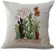 Fresh and Colorful Hand-Painted Potted Cactus Succulents Cotton Linen Throw Pillow Case Personalized Cushion Cover New Home Office Decorative Square 18 X 18 Inches Lumbar Throw Pillow, Throw Pillow Cases, Throw Pillows, Patio Seat Cushions, Scatter Cushions, Couch Cushion Covers, Pillow Covers, Living Room Decor Pillows, Personalised Cushions