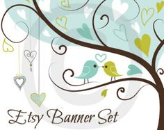 Etsy Bird Banner - Etsy Banner - Etsy Store Banner - Shop Banner - Etsy Banner Set  - Blue Green Bird 3 Tree Heart Love