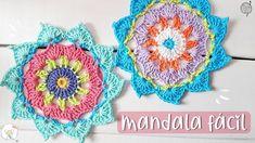 Mandala fácil a crochet tutorial Crochet Mandala, Lana, Crochet Earrings, Crochet Hats, Diy, Tutorial Crochet, Make It Yourself, Blanket, My Favorite Things