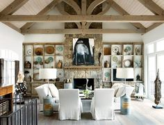 Love the artistic rustic feel of the displays in the cabinets!!