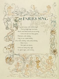The Fairies Song, from 'A Midsummer Night's Dream', 1908 *~❤•❦•:*´`*:•❦•❤~*