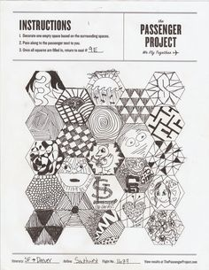 The Passenger Project is a participatory art / social experiment designed to bring more connection to the flying experience. Each page is created by a unique group of passengers aboard a flight.