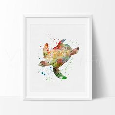 Sea Turtle Watercolor Nature Art Print Wall Decor. Our designs make an attractive, modern contemporary wall piece for your baby nursery, home, office or even as a gift.