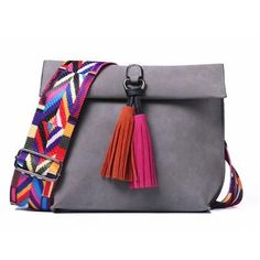 38b8f7fbe5 Women s Crossbody Bag with Tassels and Colorful Strap