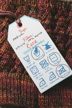 Knitting and Crochet Gifts Free Printable - Free Printable Knitting Tags Knitting Stitches, Free Knitting, Knitting Patterns, Knitting Buttonholes, Printable Labels, Free Printables, Tricot D'art, Knit Crochet, Crochet Pattern