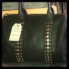 "Textured Faux Leather Satchel w Studs and Stones Double top handles, zip top closure, stud, rhinestone accents adjustable shoulder strap, 14"" x 9"" x 8"" Bags Satchels"