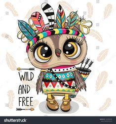 Cartoon tribal Owl with feathers on a white background. Cute Cartoon tribal Owl with feathers on a white background stock illustration Cartoon Cartoon, Cute Owl Cartoon, Cartoon Mignon, Owl Feather, Owl Wallpaper, Funky Nail Art, Art Mignon, Owl Art, Easy Drawings