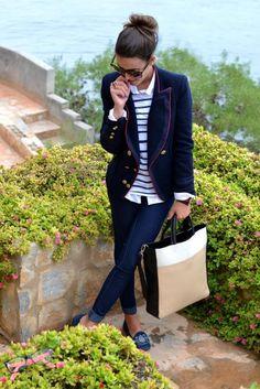 Love this whole look: blazer, jeans, flats, bag, glasses, & bun.