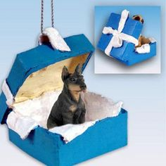 Doberman Pinscher Black Dog Blue Gift Box Ornament