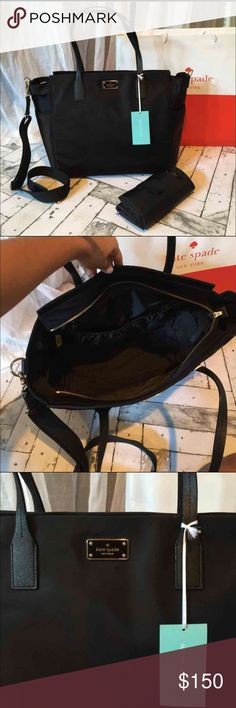 """Kate Spade Diaper Bag NEW Brand new with tags authentic Kate Spade """"taden"""" diaper bag. Beautiful black nylon easy to clean material finished with black leather handles and gold hardware. Two exterior bottle pockets, and large interior pocket. Includes diaper changing pad. Strap is detachable so you can carry this bag by the handles or with the strap as a crossbody.  Retail price $298 Dimensions: 17x6x22 kate spade Bags Baby Bags"""