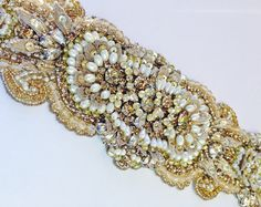 Beaded Bridal Sash-Wedding Sash In Antique Gold with Crystals And Pearls…
