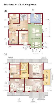Grundriss Einfamilienhaus Mit Satteldach   5 Zimmer, 130 Qm Wohnfläche,  Ohne Keller, Erdgeschoss