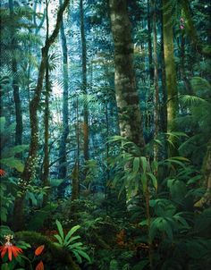 Tropical Forest, Tropical Art, Tropical Leaves, Fantasy Forest, Forest Art, Fantasy Art, Mother Earth, Mother Nature, Woodland Creatures