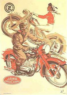 JAWA 150 Jawa 250 poster from Chechoslovakia - Vintage Poster Reproductions. Czech transportation poster features a man riding a red motorcycle and a women riding the opposite direction on a brown bike. Red Motorcycle, Motorcycle Posters, Car Posters, Motorbike Girl, European Motorcycles, Vintage Motorcycles, Art Moto, Bike Poster, Old Bikes