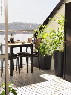 FALSTER bord och stolar, GRÄSET krukor, RUNNEN trall, UPPHETTA kaffe-/tepress, UNGDOM mugg.