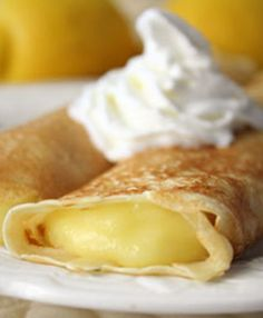 Lemon Crepes--recipe for the crepes and the lemon curd. Top with whipped cream.