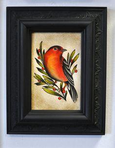 Traditional tattoo inspired bird illustration, painting, finch