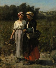 "Jules Breton (French, 1827-1906),  ""Two Young Women Picking Grapes (Study for The Vintage at Château Lagrange),"" 1862, oil on canvas, Joslyn Art Museum, Museum purchase, 2012.1"