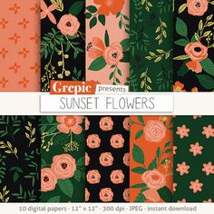 Floral digital paper: SUNSET FLOWERS vintage flowers by Grepic