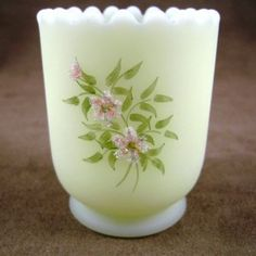 Fenton Custard Hand Painted S. Meunier Toothpick Holder - pretty as a picture