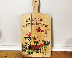 Vintage Wood Cutting Board Retro Rooster and Chicken on the Farm Board Rustic Wall Decor Rustic Walls, Rustic Wall Decor, Vintage Wood, Vintage Kitchen, Truck Paint, Antique Trucks, Rustic Cottage, Wood Cutting Boards, Or Antique