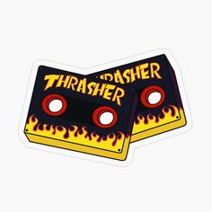 'Trasher Print' Transparent Sticker by art-tha Stickers Cool, Tumblr Stickers, Logo Sticker, Sticker Design, Spitfire Skate, Yellow Aesthetic Pastel, Thrasher Magazine, Skateboard Art, Aesthetic Stickers
