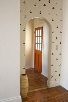 This is such a cute idea!  #DIY Anchor Statement Wall  http://www.abeautifulmess.com/2013/01/diy-anchor-statement-wall.html