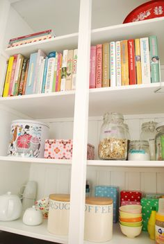 Kitchen Pantry – Kitchen – A Kitchen Pantry – and a place to store your cookbooks! : … Kitchen Pantry – Stock a Kitchen Pantry – and a place to store your cookbooks! :) - Own Kitchen Pantry Kitchen Cupboards, Kitchen Pantry, Kitchen Dining, Kitchen Decor, Kitchen Ideas, Kitchen Display, Open Kitchen, Open Pantry, Open Cabinets