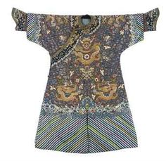 A formal court robe (chifu) of brown silk for an Imperial Duke.  Qing dynasty, circa 1800. Photo 2911 Christie's Ltd.  Embroidered with nine gilt dragon against a ground with a central lantern, blue cloud scrolls and cranes.